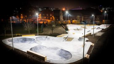 Skate park with LED floodlights (Photo: Osram Lighting Solutions)