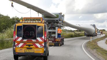 Wind turbine transported to destination