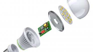 exploded view of LED bulb