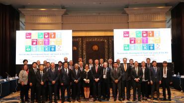 SMB Members wearing the IEC SDGs badge