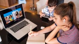 Child attending virtual classroom