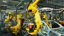 Machinery in an automotive factory