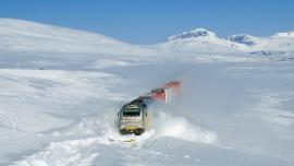 Freight train on the Nordland Line in Norway