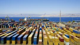 Shipping harbour with containers
