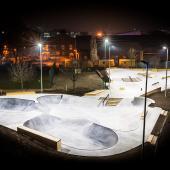 Skate park with LED floodlights (Photo: Osram Lighting Solutions)