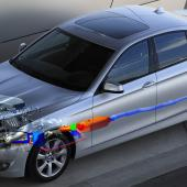 Thermoelectric generator (TEG) installation in exhaust system of BMW saloon