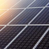 sun on solar panel