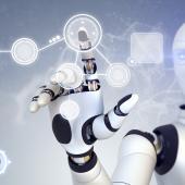 AI robot touching screen