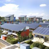 solar panels in a street