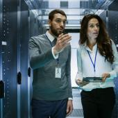 Engineers in data centre