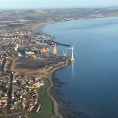 Aerial photo of offshore windturbine