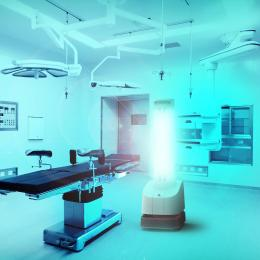 The UVD autonomous robot can eliminate viruses and bacteria in infected rooms with UV-C light (Photo: Blue Ocean Robotics)