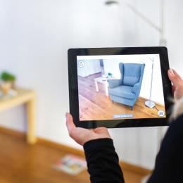 Augmented reality helps choose pieces of furniture for instance