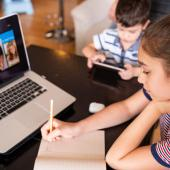 Child attending virtual classroom