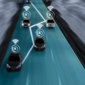 self-driving vehicles on road